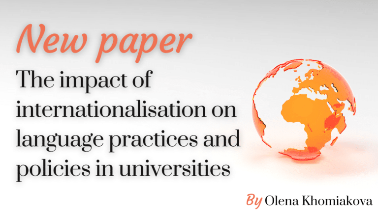 New paper: The impact of internationalisation on language practices and policies in universities